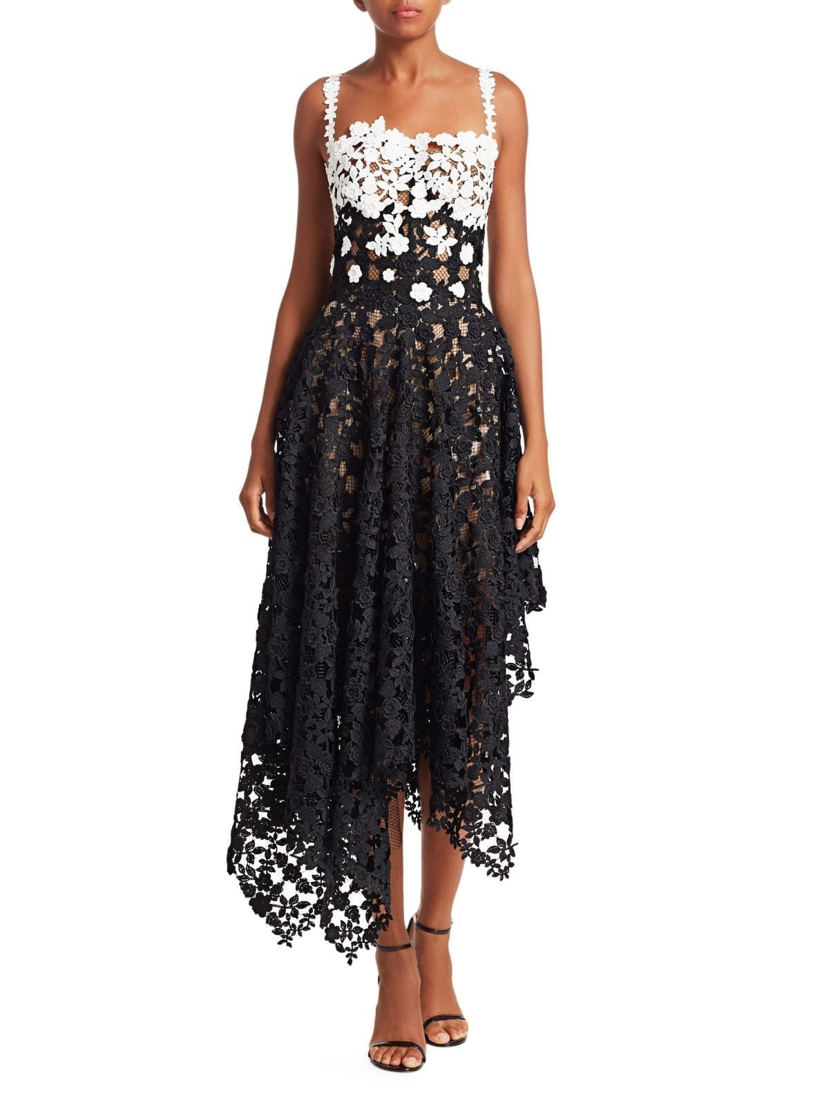 OSCAR DE LA RENTA Colorblock Lace Asymmetric White / Black Dress