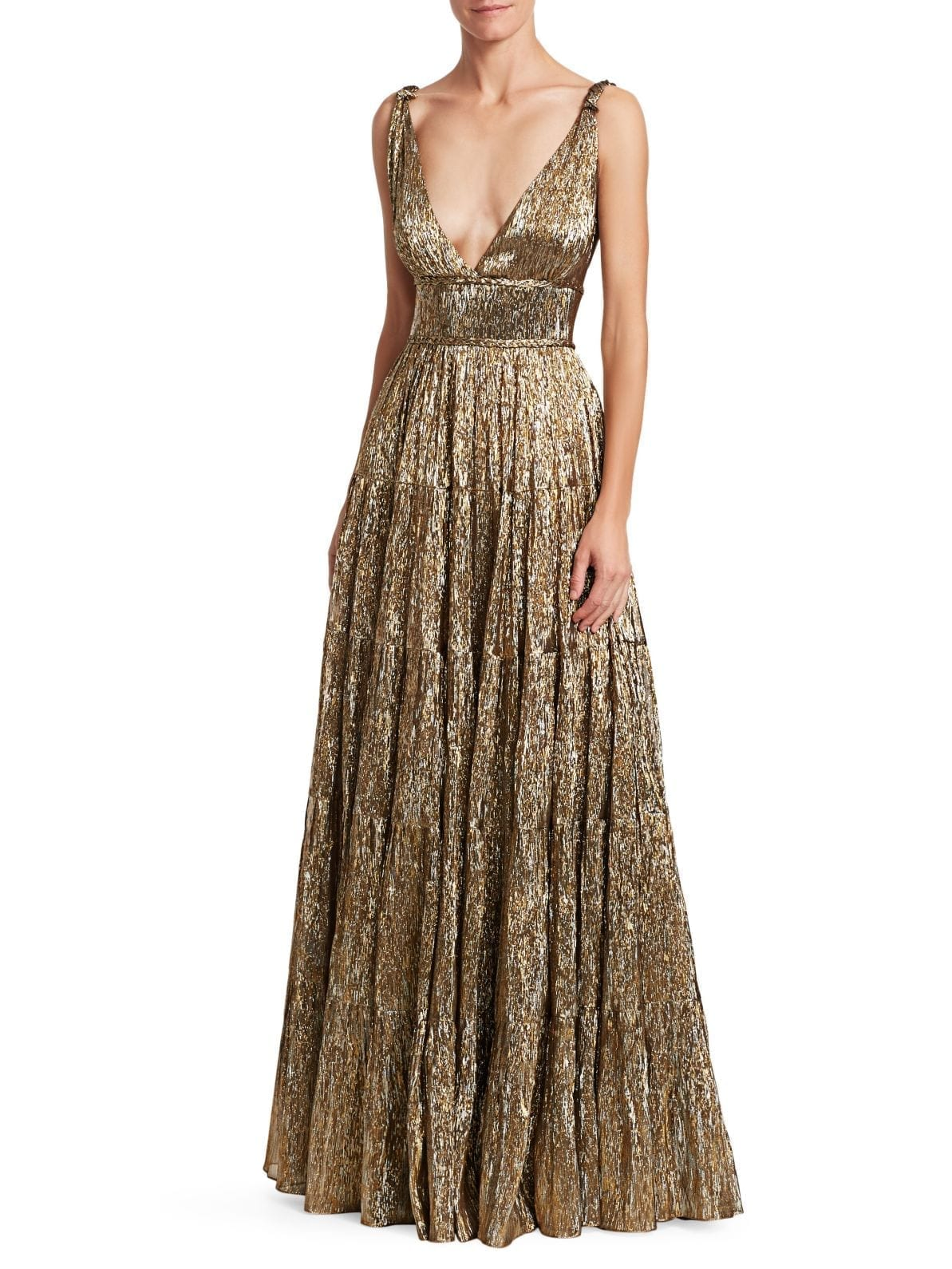 OSCAR DE LA RENTA Crinked Metallic A-lined Gold Gown