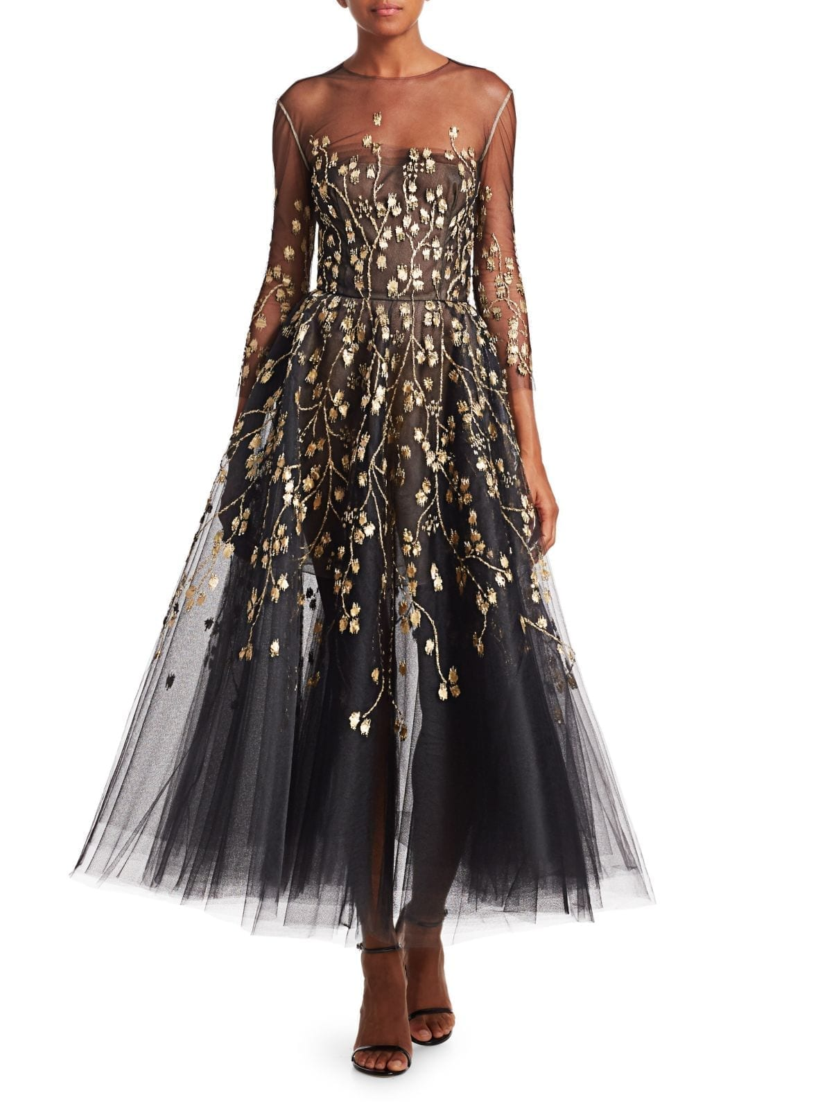 OSCAR DE LA RENTA Embellished Illusion Fit-&-Flare Cocktail Black Dress
