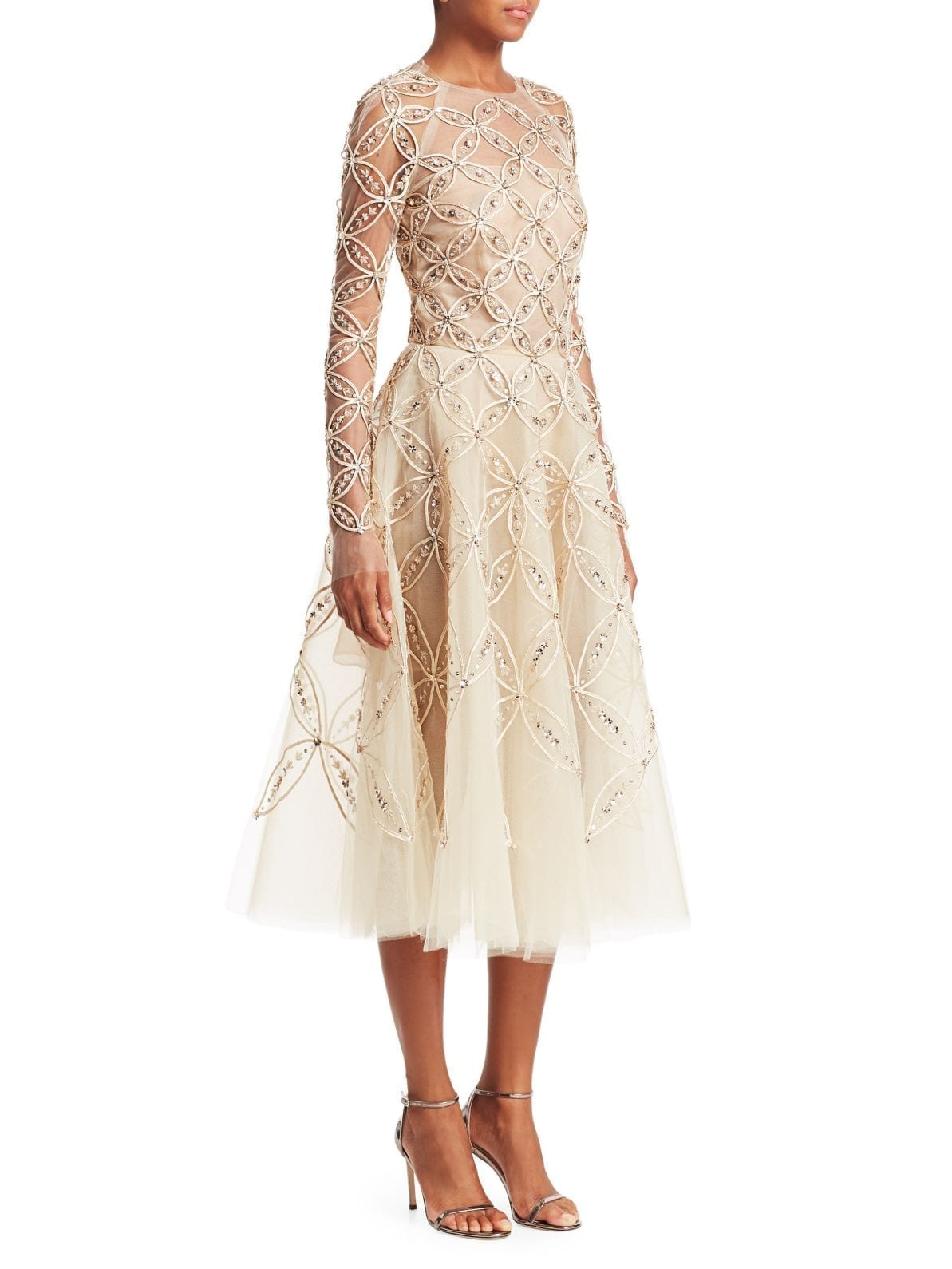 80e89eacdec42 OSCAR DE LA RENTA Long Sleeve Embroidered Illusion A-Line Beige Dress
