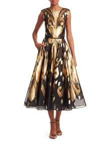 OSCAR DE LA RENTA Metallic Ikat A-Line Black / Gold Dress