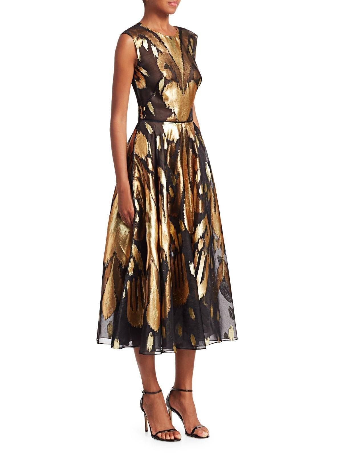 Oscar De La A Metallic Ikat Line Black Gold Dress