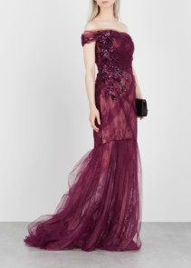PAMELLA ROLAND Embellished Lace And Tulle Burgundy Gown