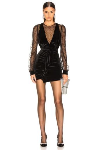 PATBO Velvet & Tulle Mini Black Dress