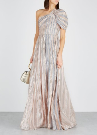PETER PILOTTO Lamé-striped Silk-blend Blush Gown