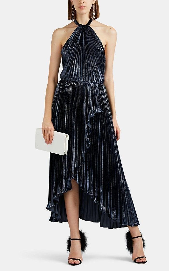 PHILOSOPHY DI LORENZO SERAFINI Metallic Velvet Halter Navy Gown