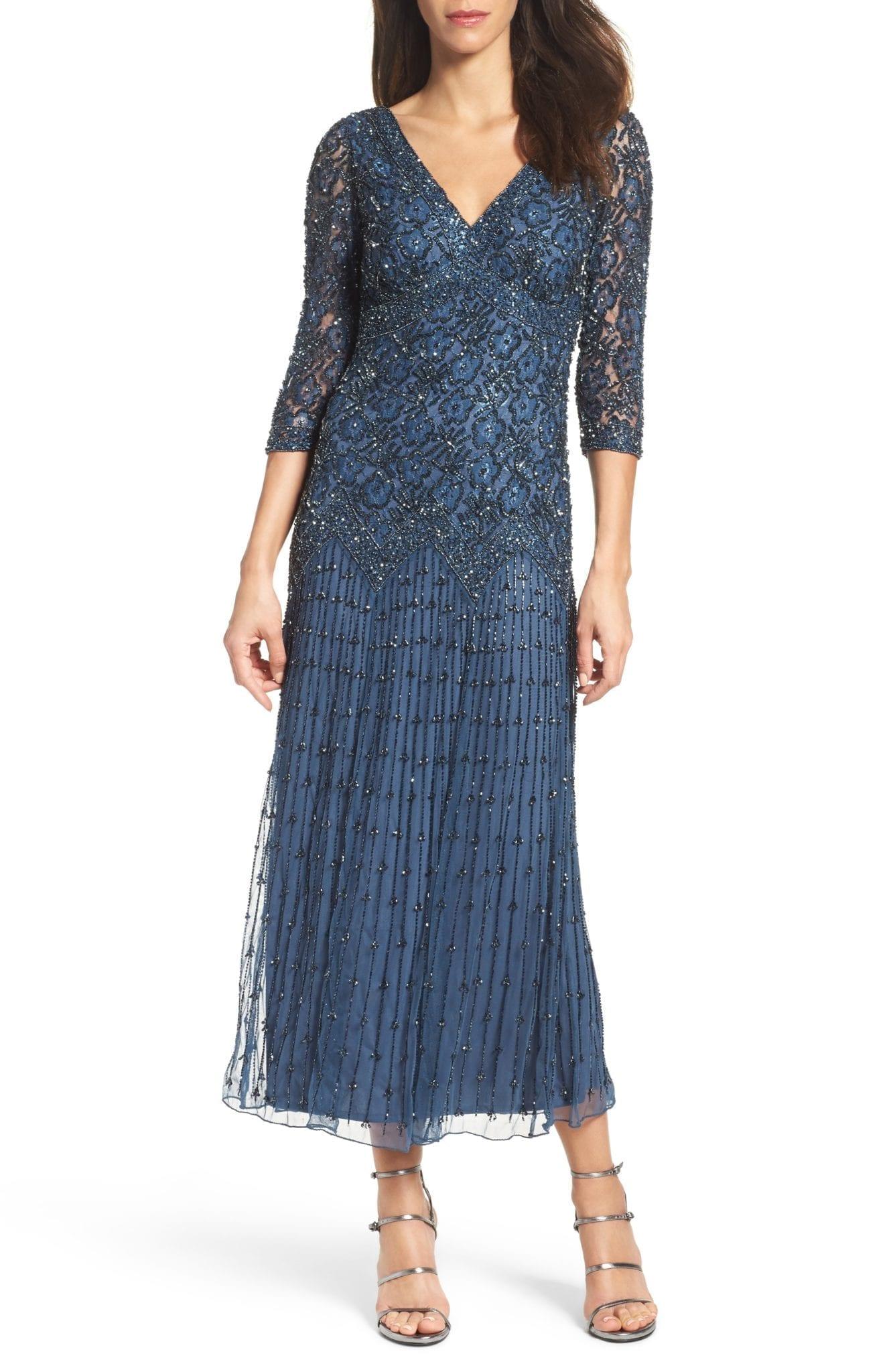 8a029dafe83 PISARRO NIGHTS Beaded Mesh Blue Dress - We Select Dresses