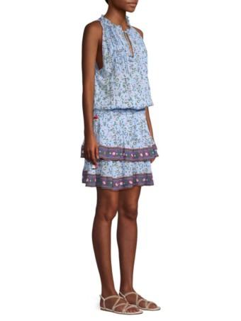 POUPETTE ST BARTH Amora Ruffle Hem Mini Blue Dress