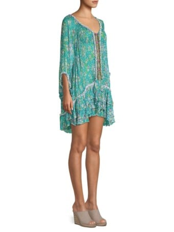 POUPETTE ST BARTH Bety Ruffle Hem Blue / Floral Printed Dress