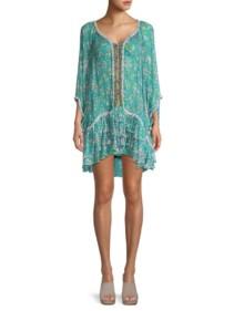 POUPETTE ST BARTH Bety Ruffle Hem Blue / Floral Printed Dress