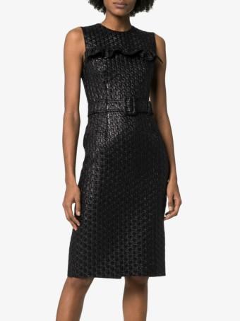 PRADA Ruffle Detail Belted Black Dress