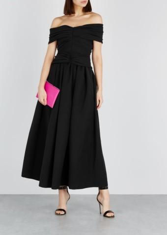 PREEN BY THORNTON BREGAZZI Ellie Off-the-shoulder Midi Black Dress