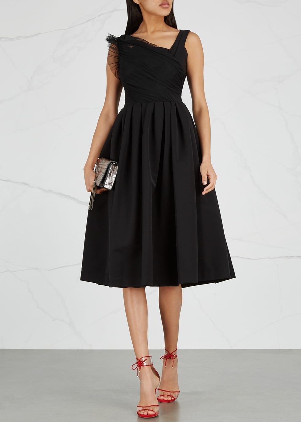 PREEN BY THORNTON BREGAZZI Una Off-the-shoulder Black Dress