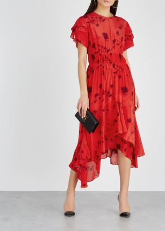 PREEN LINE Esther Printed Satin Red Dress