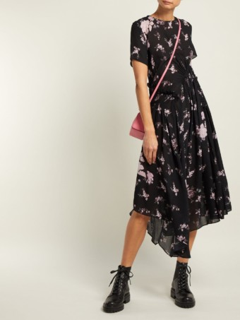 PREEN LINE Lois Ruched Chiffon Black / Floral Printed Dress