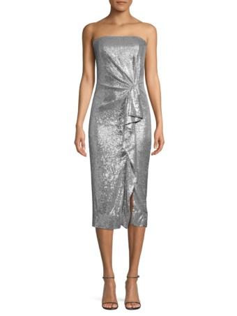 RACHEL ZOE Krista Strapless Silver Dress