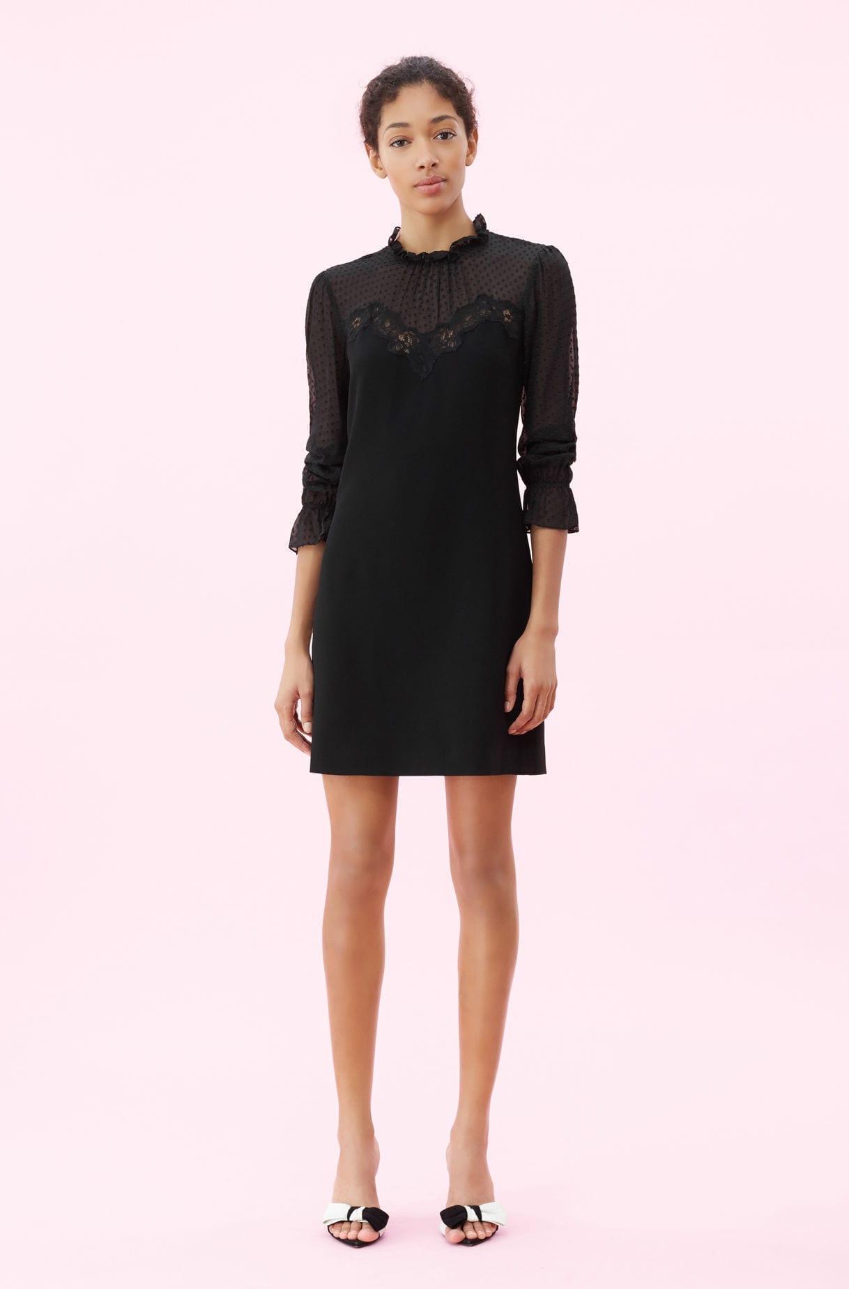 c642a7a8 REBECCA TAYLOR Crepe & Lace Black Dress - We Select Dresses