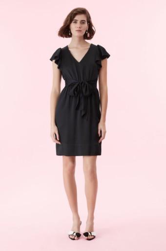 REBECCA TAYLOR Hammered Silk V-neck Black Dress