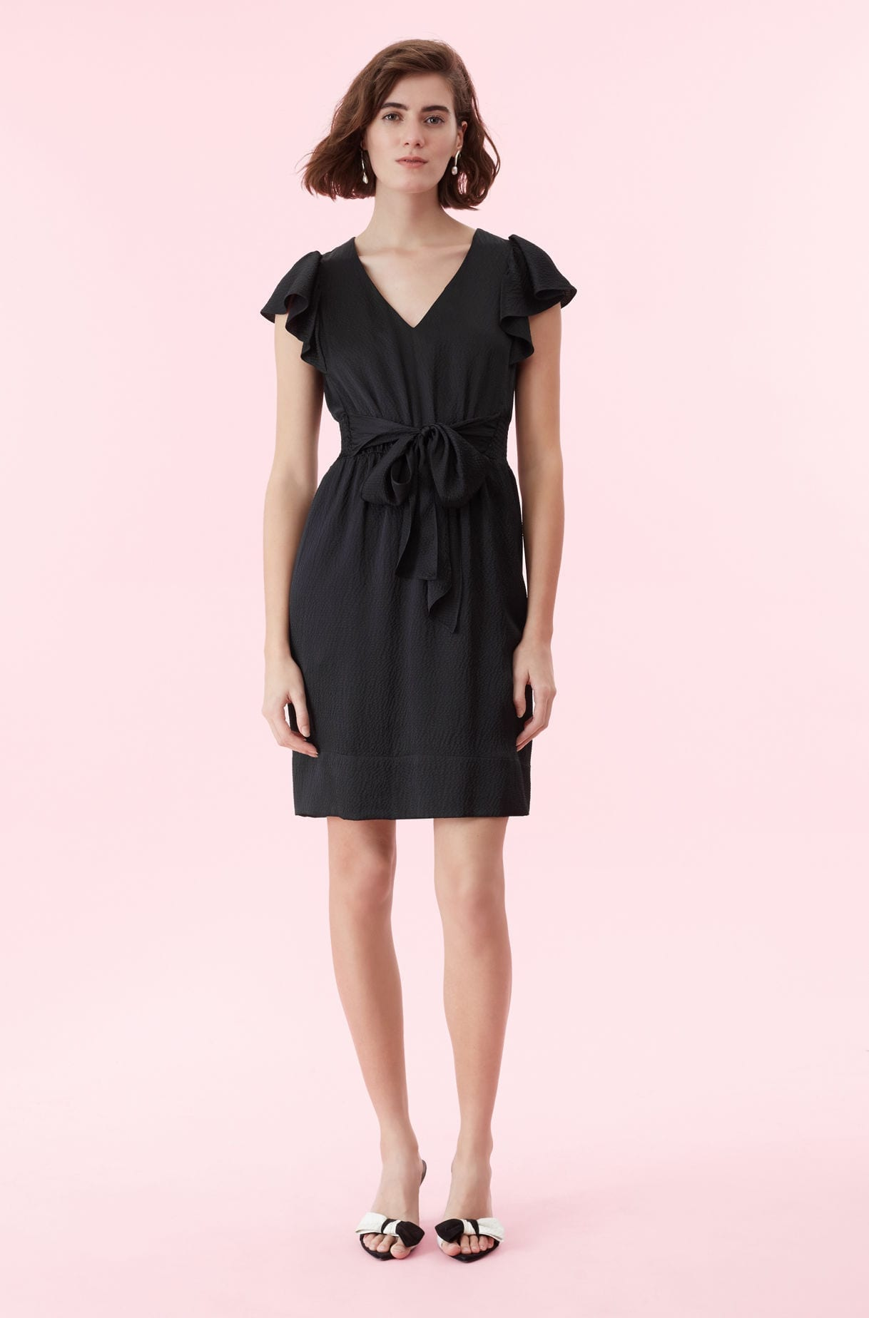 REBECCA TAYLOR Hammered Silk V-neck Black Dress
