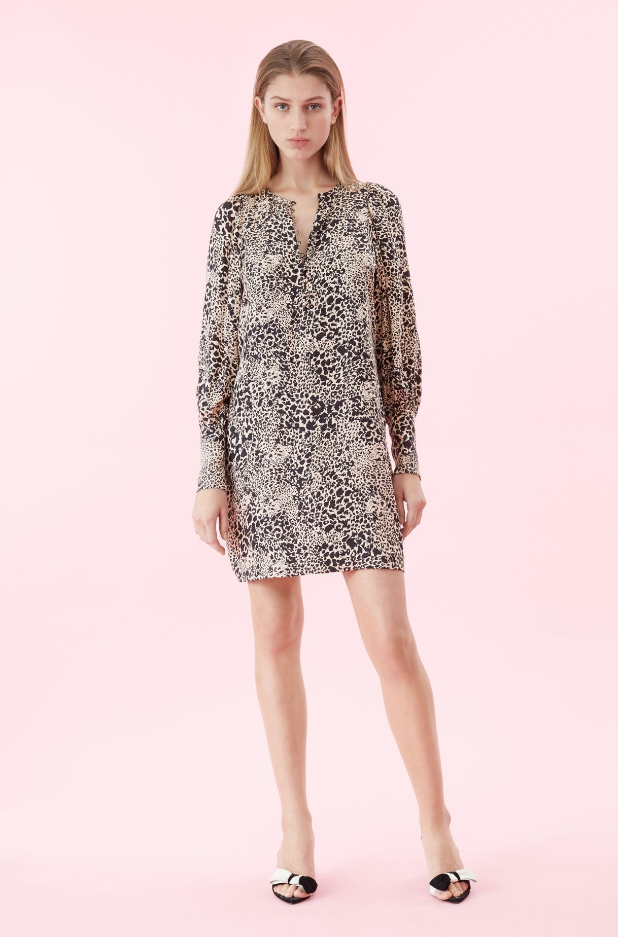 REBECCA TAYLOR Hidden Leopard Jacquard Champagne Dress
