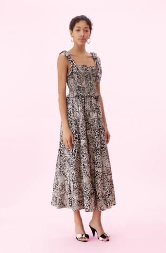REBECCA TAYLOR Hidden Leopard Poplin Smocked Champagne Dress