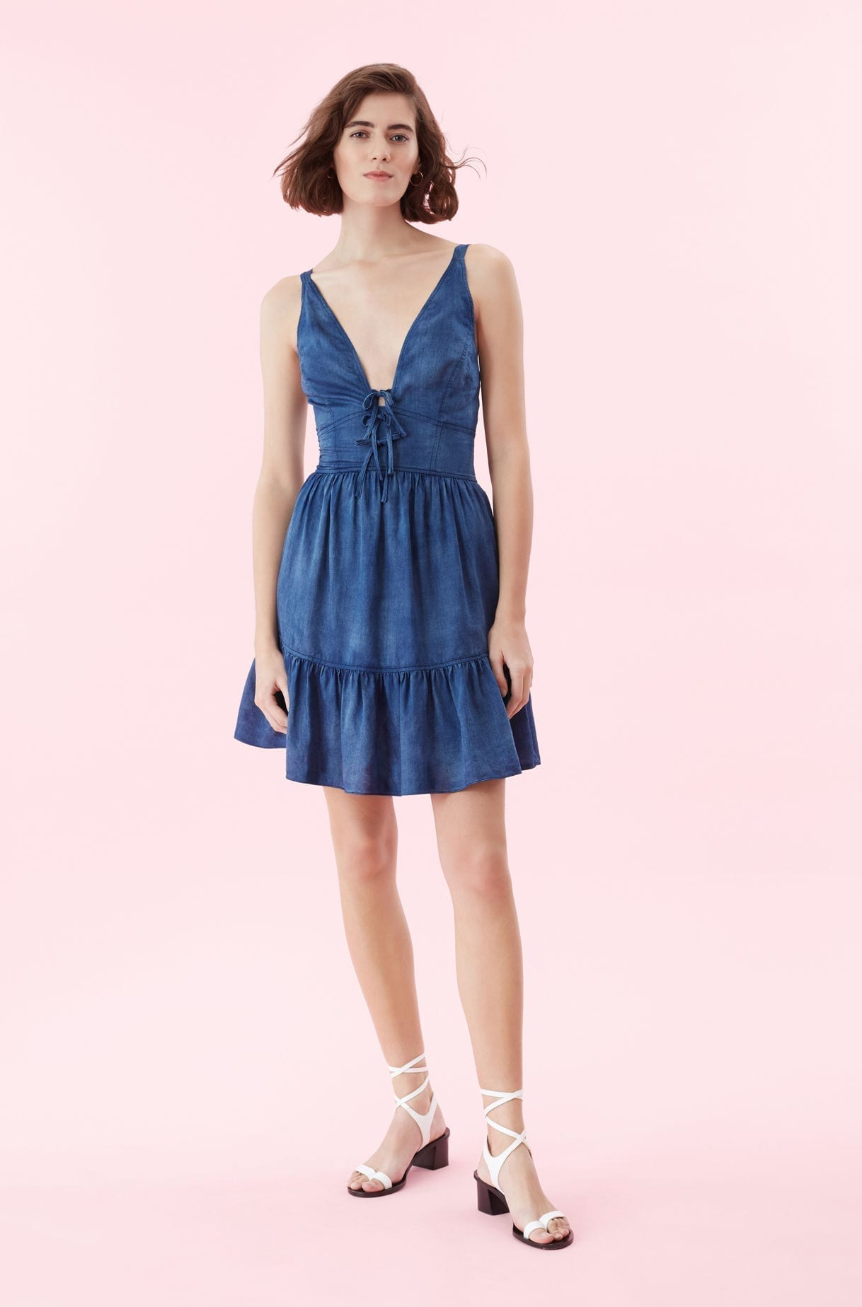 REBECCA TAYLOR LA VIE Tissue Denim Blue Dress