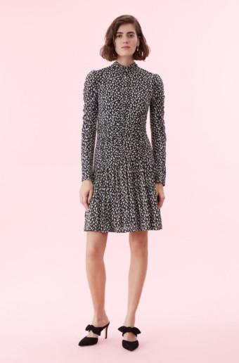 REBECCA TAYLOR Mini Cheetah Jersey Black Dress