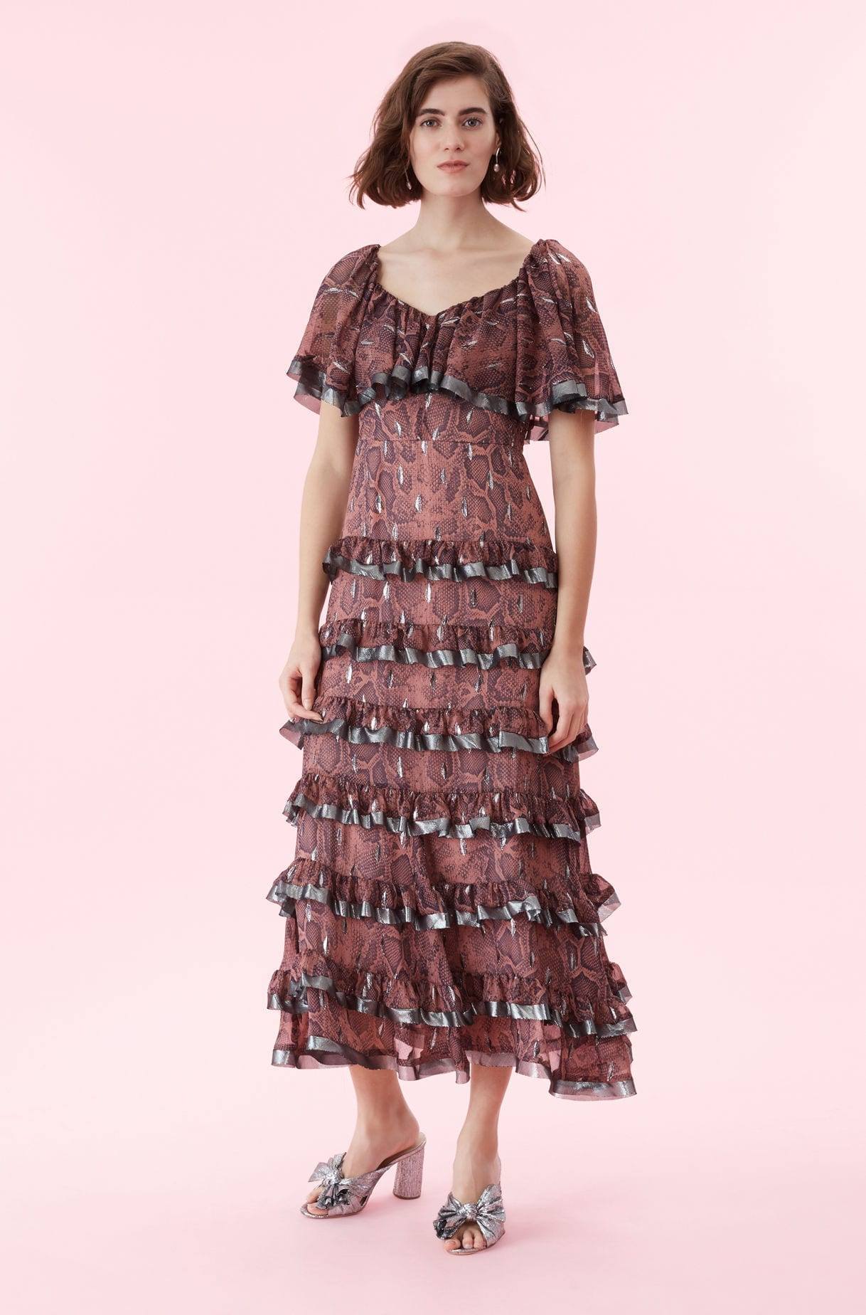 REBECCA TAYLOR Snake Print Tiered Ruffle Jam Dress