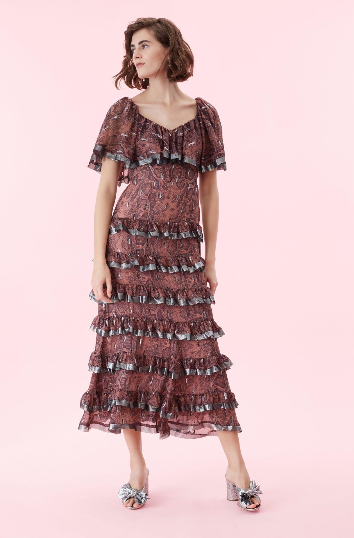 94b121e0c57f REBECCA TAYLOR Snake Print Tiered Ruffle Jam Dress - We Select Dresses