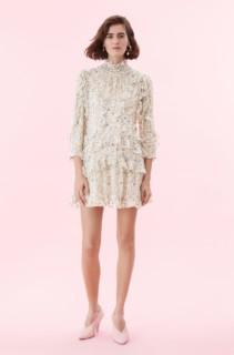 REBECCA TAYLOR Vivianna Vine Silk Burnout Cream Dress