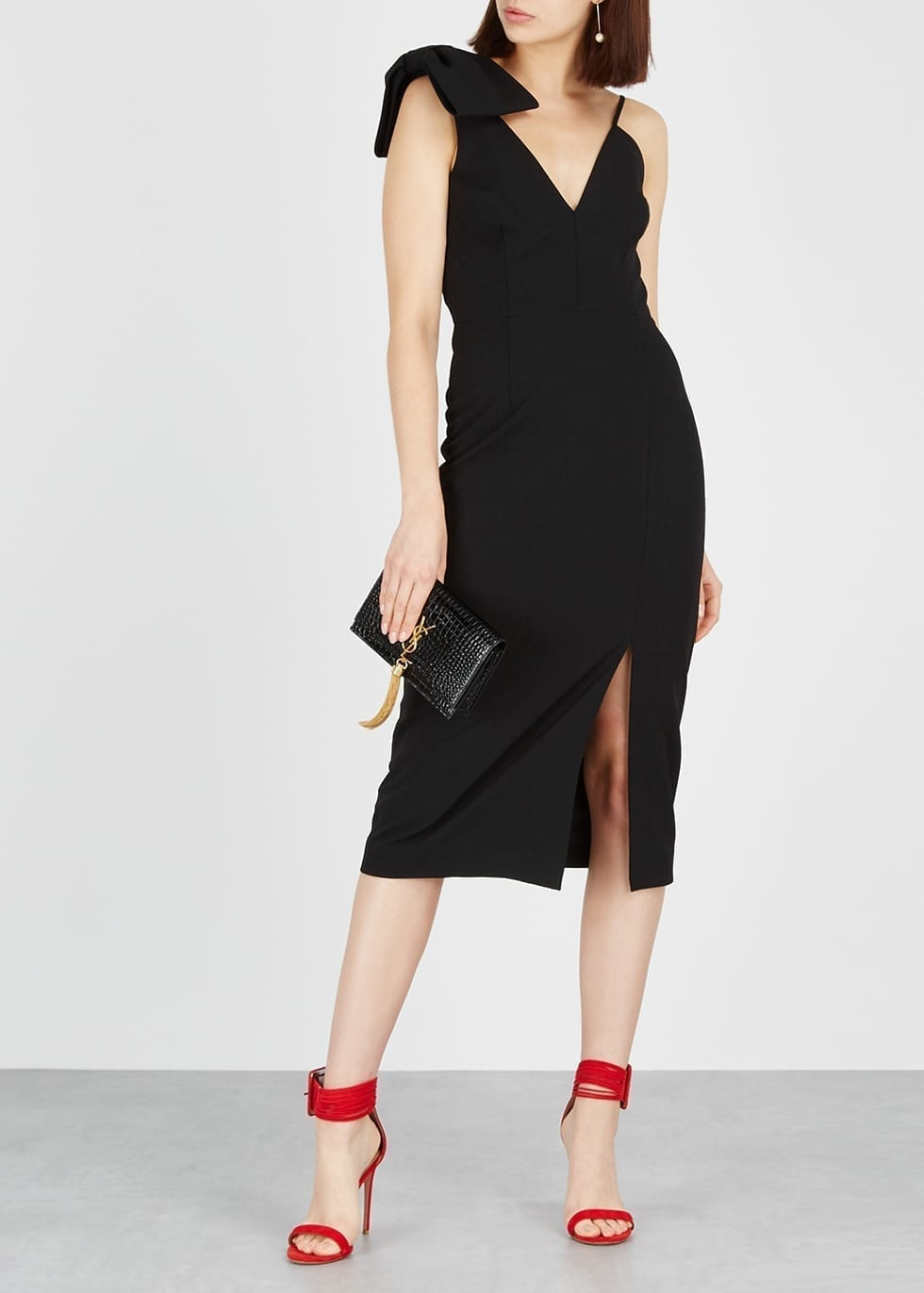REBECCA VALLANCE Love Bow-embellished Cady Midi Black Dress