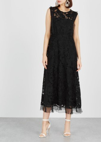 RED VALENTINO Embroidered Tulle Black Dress