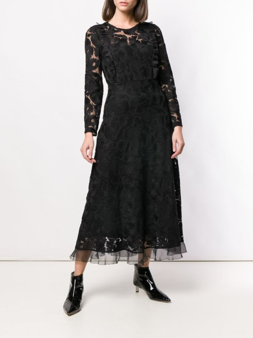 RED VALENTINO Long-Sleeved Lace Black Dress
