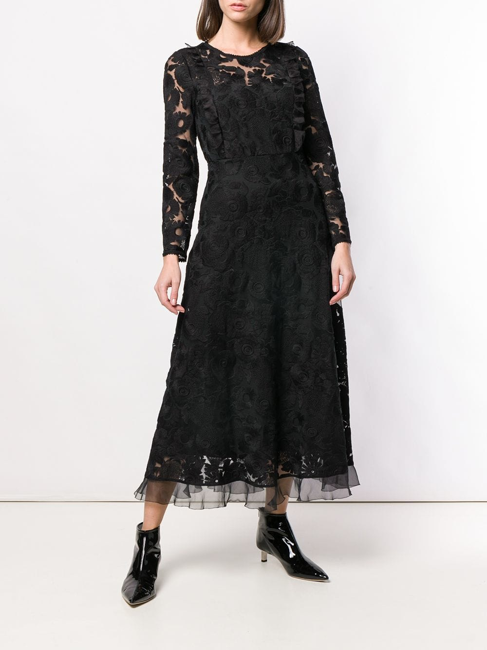 Red Valentino Long Sleeved Lace Black Dress