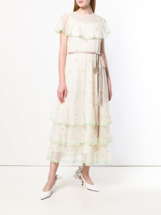 RED VALENTINO Point D'esprit Embroidered Tulle Ivory Dress