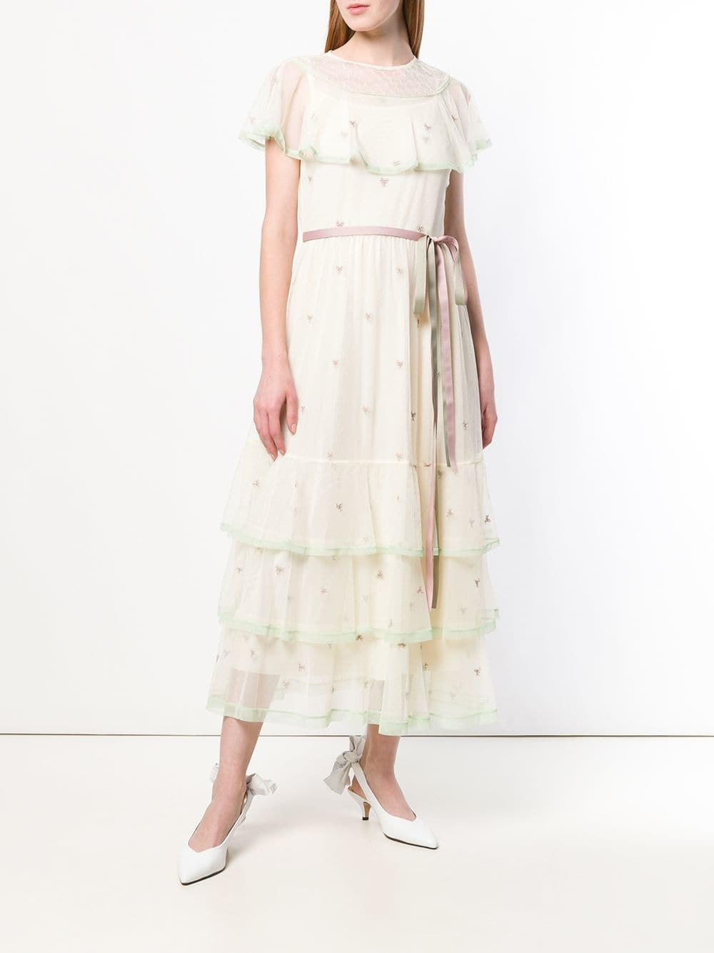 7df41a8c0d24a RED VALENTINO Point D'esprit Embroidered Tulle Ivory Dress - We ...