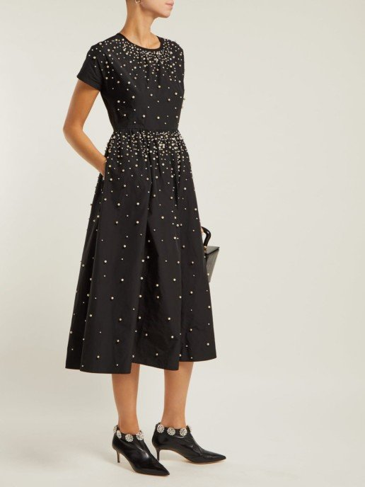 REDVALENTINO Pearl-Embellished Taffeta Black Dress