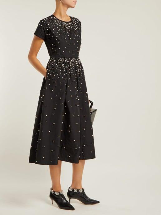 REDVALENTINO Pearl-Embellished Taffeta Black Dress