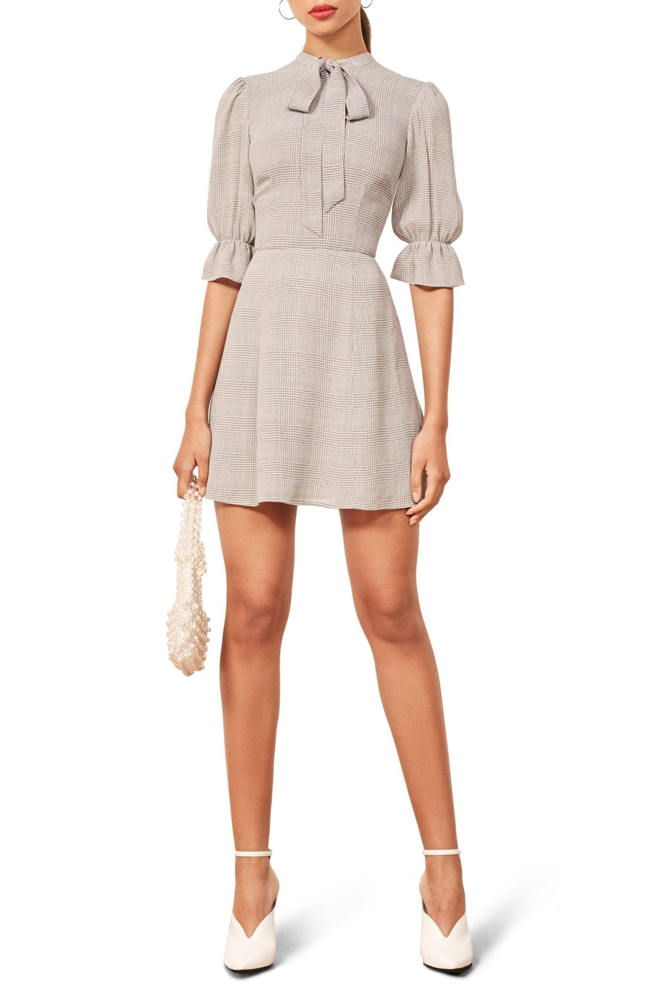 REFORMATION Cassie Tie Neck Mini Aberdeen Dress