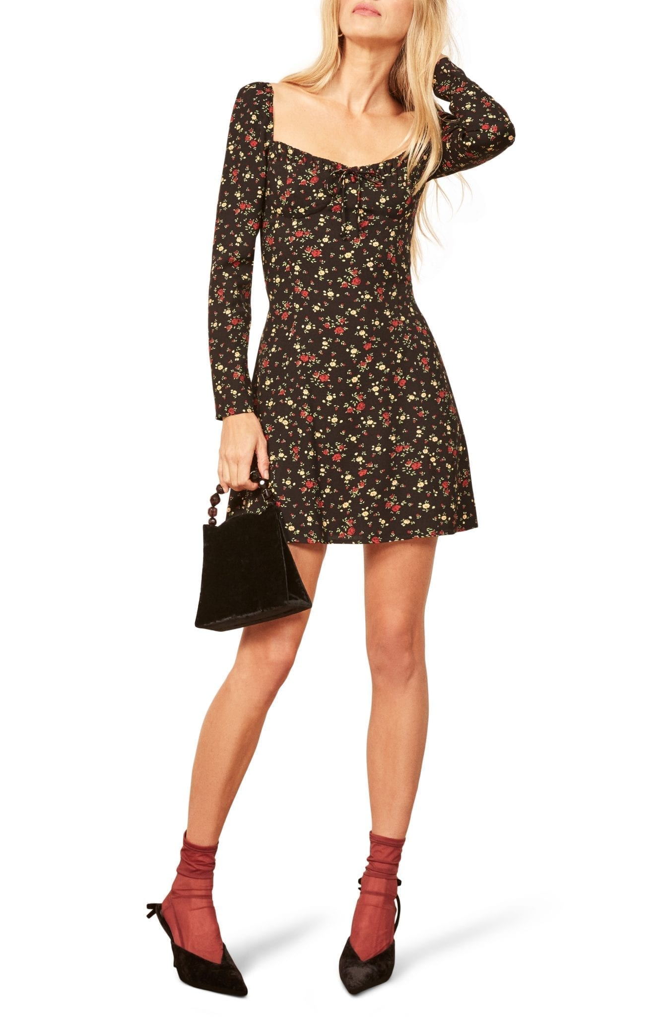 REFORMATION Sydney Sweetheart Mini Black / Floral Printed Dress