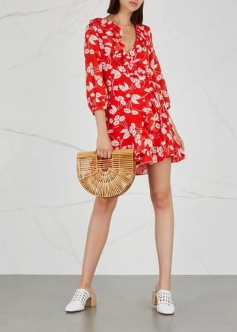 RIXO Abigail Silk Crepe De Chine Wrap Red Dress