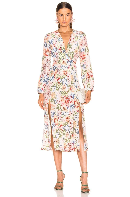RIXO Camellia White / Floral Printed Dress