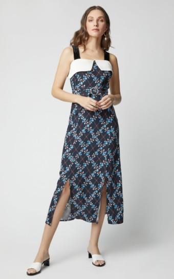 RIXO Chloe Satin Off Shoulder Black / Floral Printed Dress