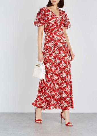 RIXO Evie Silk Maxi Red / Floral Printed Dress
