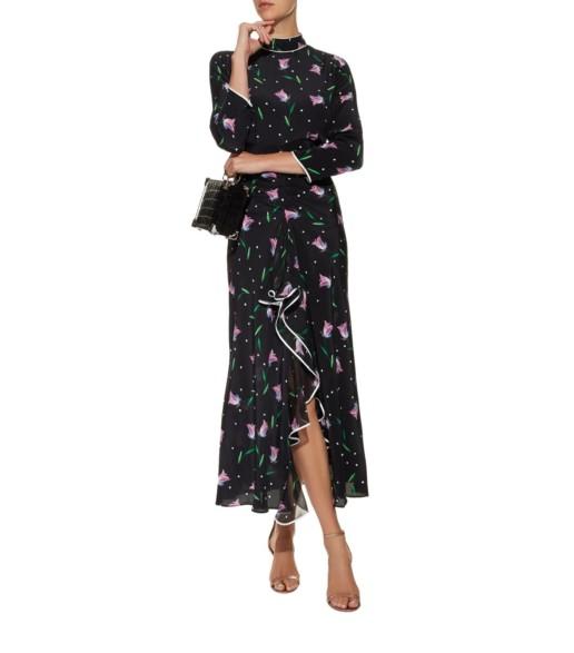 RIXO Gabriele Ruffle Maxi Black / Floral Printed Dress