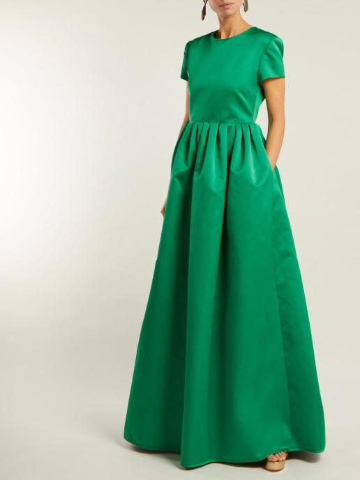 ROCHAS Gathered Duchess-satin Green Gown