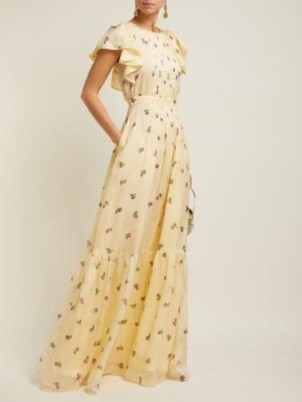 ROCHAS Pleated Silk-georgette Yellow / Floral Printed Gown