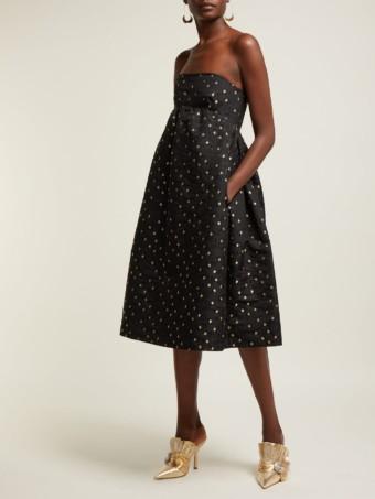 ROCHAS Rose-jacquard Cotton And Silk-blend Midi Black Dress