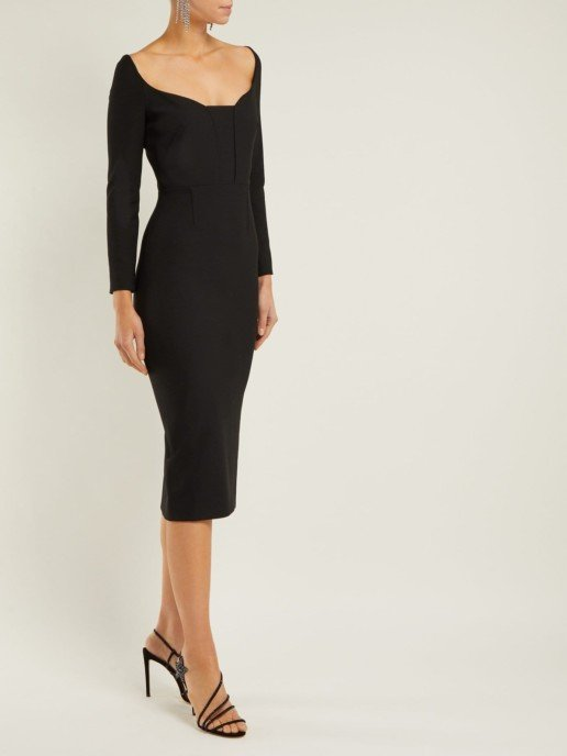 ROLAND MOURET Ardon Crepe Black Dress
