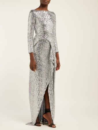 ROLAND MOURET Sarandon Sequinned Panelled Silver Gown